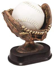 (Decade Awards Softball Glove Ball Holder Trophy - Bronze | Game Ball Holder Award | 6 Inch Tall - Free Engraved Plate on Request)