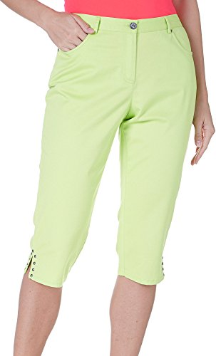 Hearts Of Palm Womens Solid Embellished Capris 6 Chartreu...