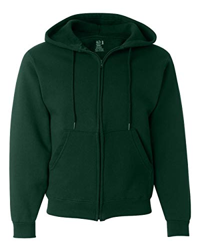 (Fruit of the Loom 12 oz. Supercotton 70/30 Full-Zip Hood, XL, FOREST GREEN)