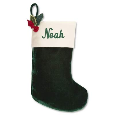 Things Remembered Personalized 14-Inch Green Velvet Stocking with Holly, Embroidery Included -