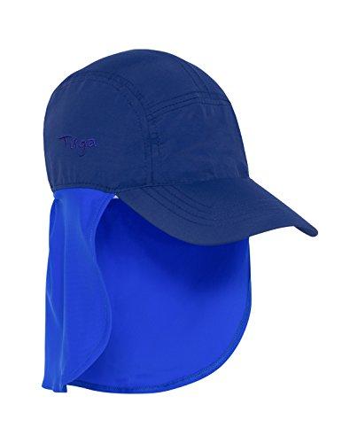 Tuga Boys Flap Sun Hat (UPF 50+), Navy/Royal (Solid Logo), Small