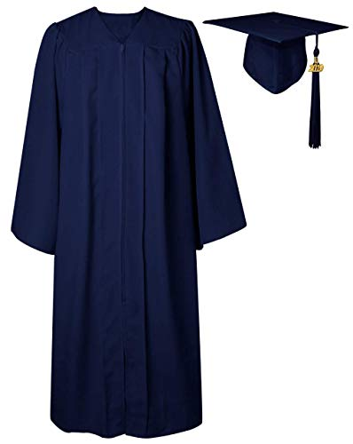 GGS Unisex Matte Graduation Gown Cap Tassel for Bachelor/High School 2019 Year Charm Navy 48(5'3