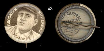 1910 American Tobacco Co. P2 Sweet Caporal Pins (Baseball) card#72 john hummel of the brooklyn superbas Grade Excellent