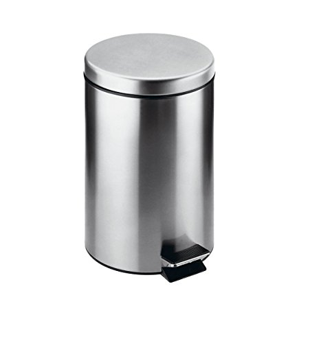 Dormic Bath Collection Archie Round Step Trash Can, Stainless Steel Wastebasket With Lid Cover (3L) by Dormic Bath Collection