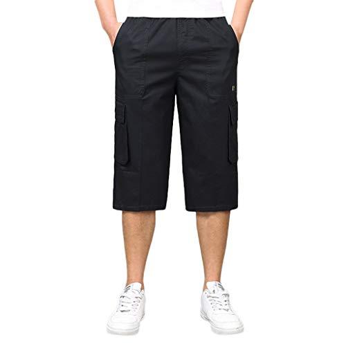 (ZEFOTIM Casual Shorts for Stylish Men's Seven-Point Multi-Zip Multi-Pocket Built-in Corded Cargo Shorts(Black,X-Large) )