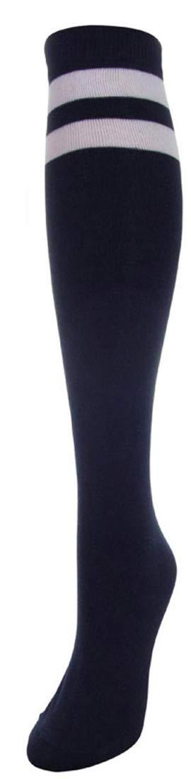 J.Ann Women's 2 White Stripe Cotton Referee/Soccer Knee High Socks, Size:9-11 (Navy)