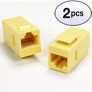 GOWOS (2 Pack) Cat.5E Inline Coupler w/Keystone Latch Yellow