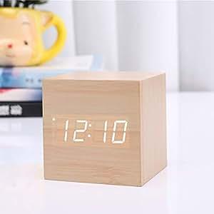 Reloj digital de madera con mini reloj despertador Cube, Reloj de mesa LED USB/Batería alimentado por la noche Reloj Decoración para el hogar: Amazon.es: ...