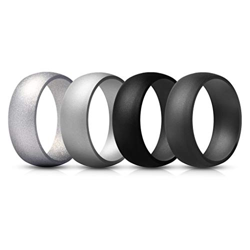 ThunderFit Mens Silicone Rings Wedding Bands – 4 Pack (Silver, Black, Dark Grey, Light Grey, 9.5-10 (19.8mm)) Review