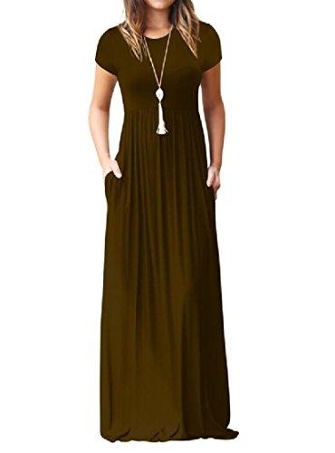 Dresses Short Round Slim Coffee Neck Coolred Longline Sleeve Women nvpxFZ4