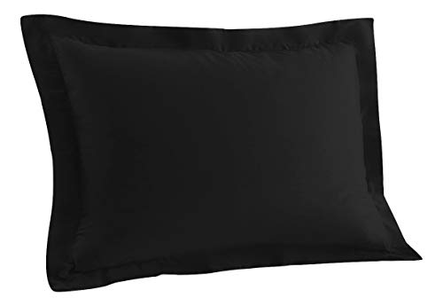 (Standard Pillow Shams Set of 2 Black Premium 600 Thread Count Soft & Luxurious 100% Pure Natural Cotton Black Pillow Shams Standard Size 20X26 Decorative Pillow Shams Set With 2)