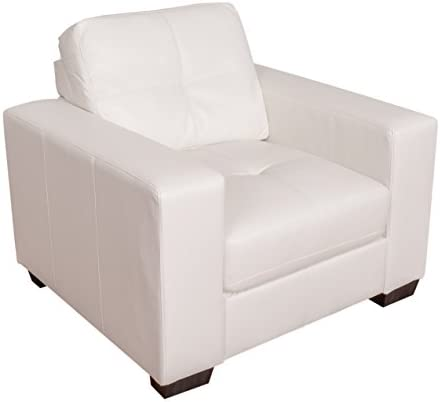 CorLiving Club Leather Armchair White