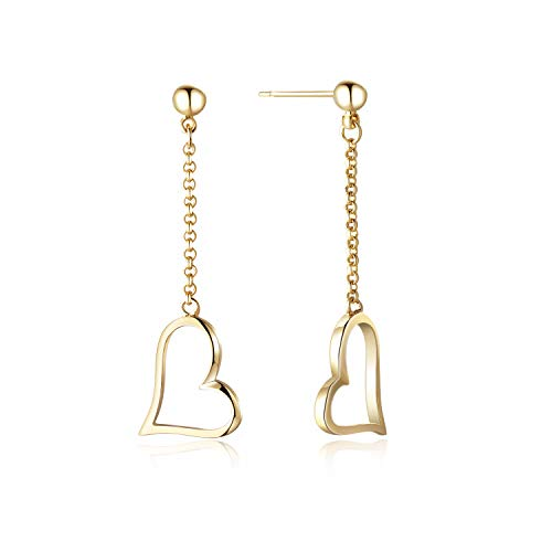 Filled Heart Dangle - AGVANA Yellow Gold Filled Heart Drop & Dangle Earrings Minimalist Jewelry Gifts for Women Girls, Height 1.5