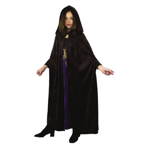 Black Hooded Panne Cloak (Charades Child's Panne Velvet Cloak Costume, Black, One Size)