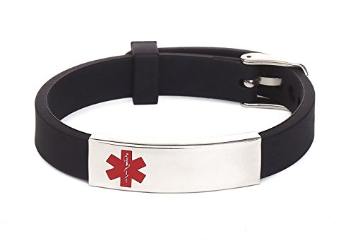 Silicone Medical Alert ID Bracelet Black for Men and Women (Free Engraving) ()
