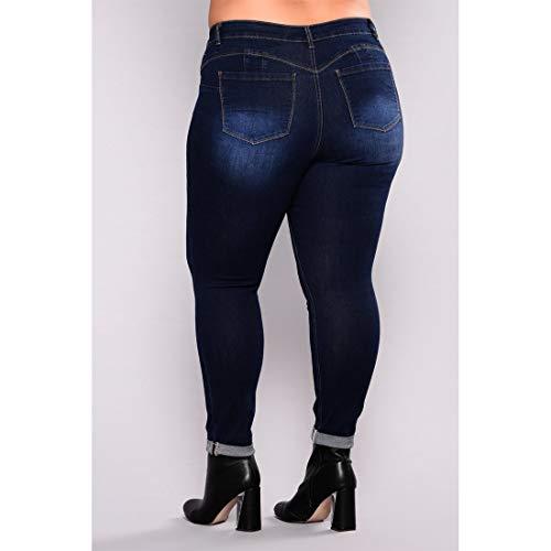 MALLTY 7XL 3 Haute Style Jean Color Style Long mi Jeans en 3 Taille Skinny Size rqvwr7