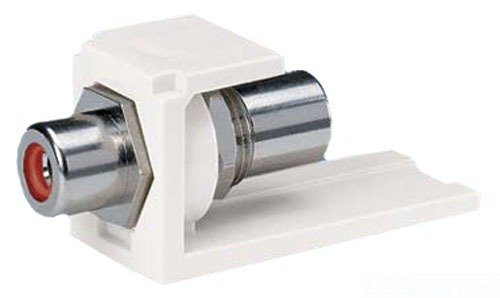 - Panduit CMRPREI 1-Port Pass Through Module with RCA Coupler and Electric Ivory Housing/Red Insert