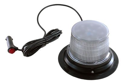 Class 1 LED Beacon with 30 Strobe Light Patterns - Magnet Mount - Cigarette Plug Cord(-White)