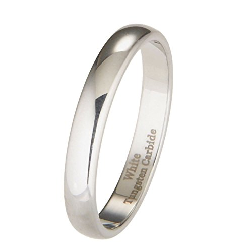 MJ Metals Jewelry 3mm White Tungsten Carbide Polished Classic Wedding Ring Size 6.5