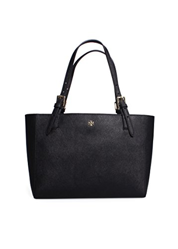 Tory Burch Women's York Small Buckle Tote, Black, One - Bag Tory Burch Gold