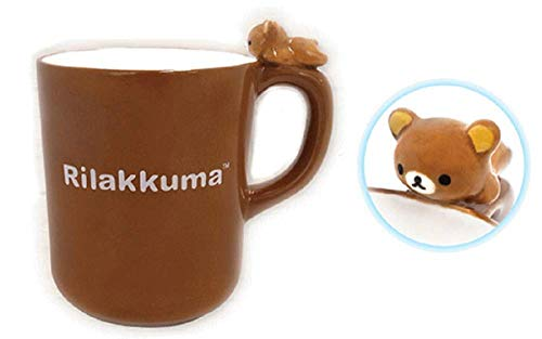 SK Japan Rilakkuma Figurine Mug on Top: Cute Pottery Mug and Rilakkuma Mascot, OD 4.15 x H 3.14""
