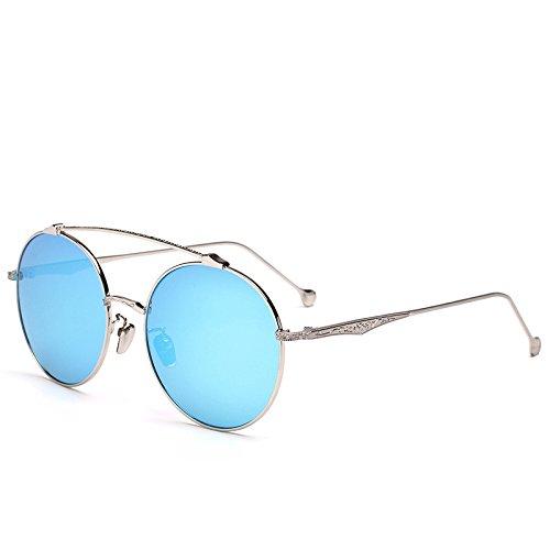 Simple Fashion marco Sol de Película plateado azul Unisex Gafas Classic Película Mar ZZ de de Trend CgwqA5