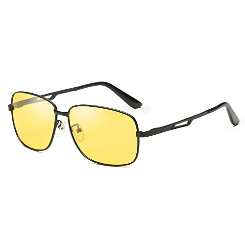 night Black Coolest sensitive Fauhsto Eyeglasses Use Sunglasses Night Sunglasses and Discoloration Sunglasses UV Square discolor Men Frame Travel Night Vision B Use Avitor Eyewear protection Day Light sunglasses Polarized Driving Lens Sunglasses Yellow SUXrFYSw4