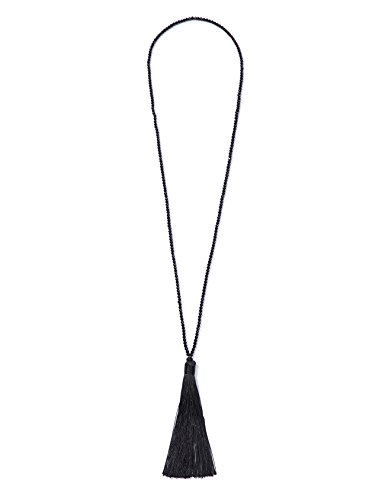 NeeMee 1920's Flapper Great Gatsby Inspired Vintage Beaded Tassel Long Pendant Necklace (Black) -