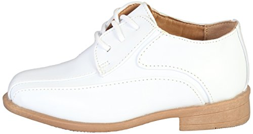 Image of Jodano Collection Boys Memory Foam Lace up Dress Shoe, White, 7 M US Big Kid'