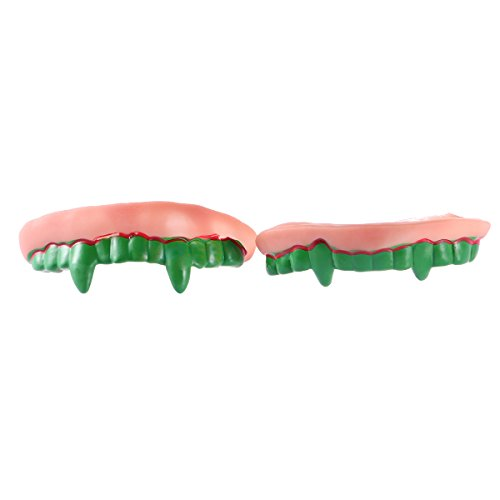 Amosfun Fake Vampire Denture Teeth Funny Goofy Halloween Costumes Halloween Decoration Props Trick Toy (Green Tooth)