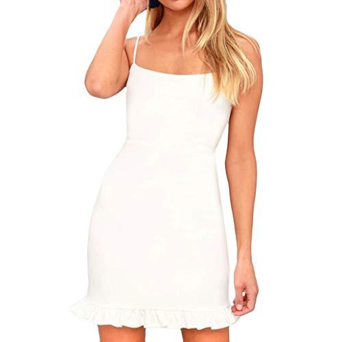 - Mlide Sleeveless Off-The-Shoulder Slim Flower Hem,Spaghetti Shoulder Strap Skinny Evening Party Mini Dress (White,Medium)