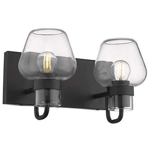 Vanity Lights Wall Lights Bathroom Vanity Lighting, Beionxii 2-Lights Industrial Retro Antique Wall Sconce Lamps Black Finish with Clear Glass Shade for Bathroom ()