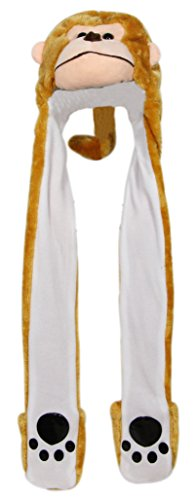 Bioterti Plush Novelty Animal Hat 3 in 1 Beanie with Long Paw Scarf, Mitten Combo - Hat Adult Monkey