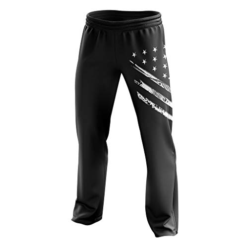 Tactical Pro Supply American Flag Sweatpants for Men or Women, Workout USA Jogger Pants - Large (American Flag Sweatpants)
