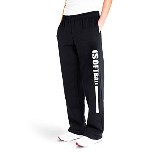 Softball Bat Sweatpants   Softball Apparel by ChalkTalk SPORTS   Black/White   Adult Small
