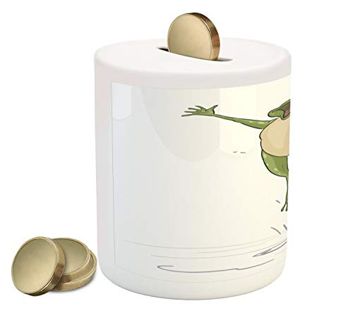 Jumping Frog Water - Ambesonne Frog Piggy Bank, Frog Jumping in Excitement in The Water Happy Toad Freedom Relax Lifestyle Humor, Printed Ceramic Coin Bank Money Box for Cash Saving, Olive Green Grey