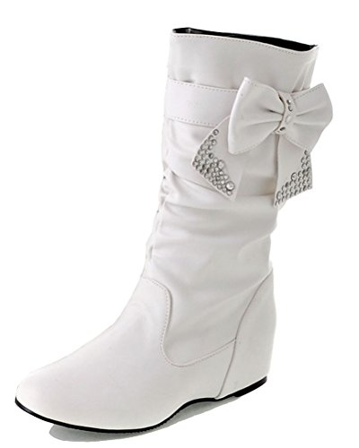 HiTime Ladies Removable Bowknot Ruffle Slouch Boots Rhinestone Girls Waterproof Pull on Riding Boots Size 2-12 White 1Gcbk6YWGN
