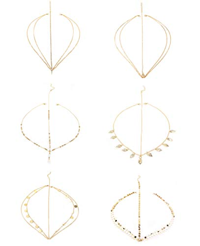 Jstyle 6Pcs Gold Head Chain Jewelry for Women Bridal Bohemian Halloween Headband Hair Headpiece (Chain Headpiece Gold)