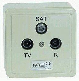 SET 3-fach Antennensteckdose (SAT/TV/Radio), Stich-/Enddose DC-Durchgang (3-Fach Antennendose)