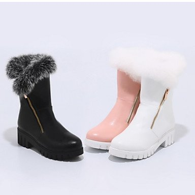 Women's Shoes PU Fall Winter Comfort Novelty Fashion Boots Boots Flat Heel Round Toe Mid-Calf Boots Feather Zipper For Outdoor Office & blushing pink yvfeI2P