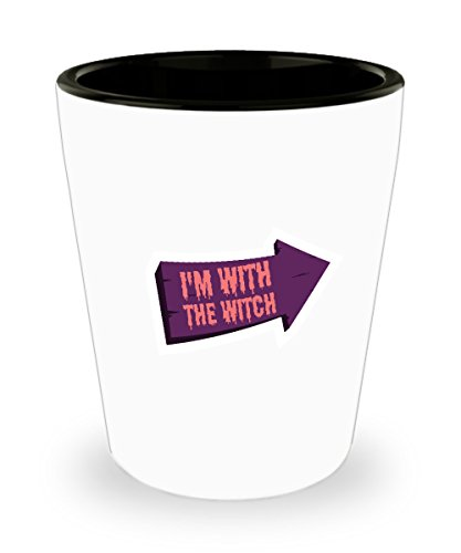 Shot Glass I'm With The Witch Halloween Couples Costume Gift Glass -