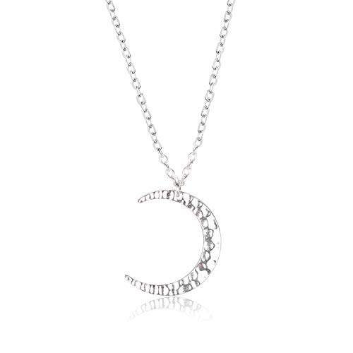 Dainty Handmade Necklace for Women 925 Sterling Silver Hammered Finish Textured Crescent Moon Pendant Necklace