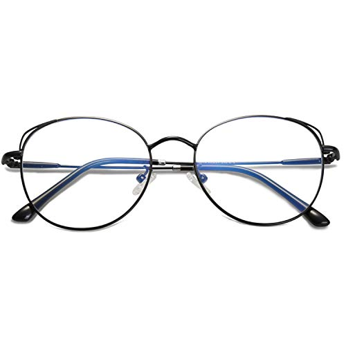 SOJOS Cat Eye Blue Light Blocking Glasses Hipster Metal Frame Women Eyeglasses She Young with Black Frame/Anti-Blue Light Lens -