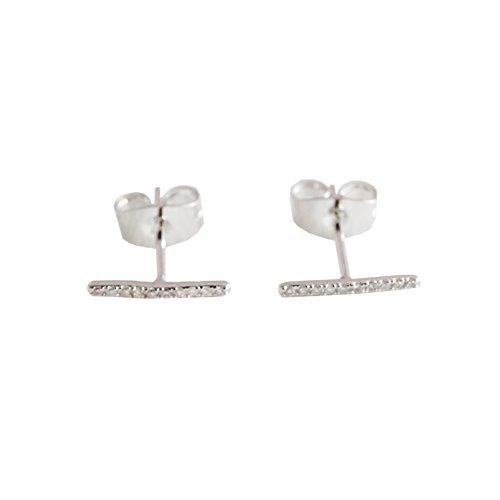 (HONEYCAT Skinny Midi Crystal Wire Bar Stud Earrings in Silver (Rhodium Plated) | Minimalist, Delicate Jewelry (S))
