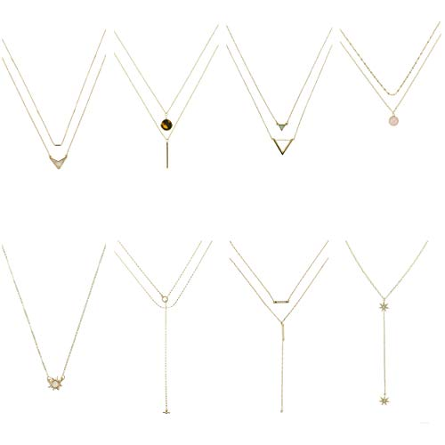 (Coolcoco Trendy Fashion Metal Gold Pendant Necklace for Women Lady Girl (8 Pieces/Set))