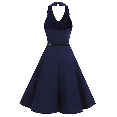 Amazon.com: iShine Womens Sexy Halter Neck Dress Vintage 1950s Audrey Hepburn Gown Cocktail Rockabilly Swing Skirt: Clothing
