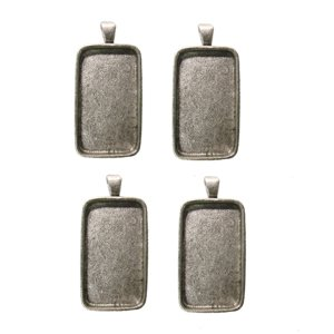 - 1-1/2inch X 3/4inch Rectangle Silver Plated Deep Pendant Plates - 4 Pack