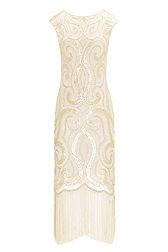 Metme Women's Vintage Inspired 1920s V Neck Sequin Art Deco Flapper Dress Midi Dress for Prom