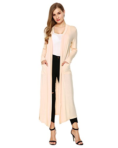 Party Cardigan - Mixfeer Womens Long Sleeve Open Front Long Maxi Cardigan Longline Duster Coat