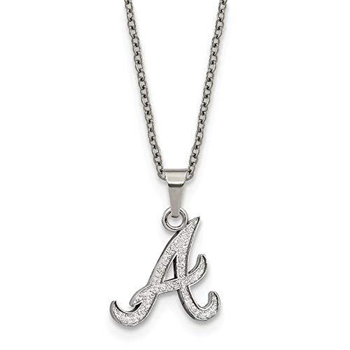 (Q Gold MLB Atlanta Braves Stainless Steel Atlanta Braves Pendant on Chain with 2 in ext Necklace Size One Size)